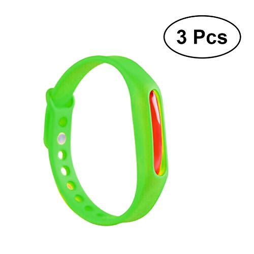 Vosarea Armband gegen Mücken, ungiftig, verstellbar, für Erwachsene, Kinder, 3-Teiliges Set (Grün)