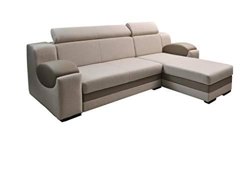 Creme-ottomane (mb-moebel Ecksofa Sofa Eckcouch Couch mit Schlaffunktion und Bettkasten Ottomane L-Form Schlafsofa Bettsofa Polstergarnitur Mercury (Ecksofa Rechts, Creme))