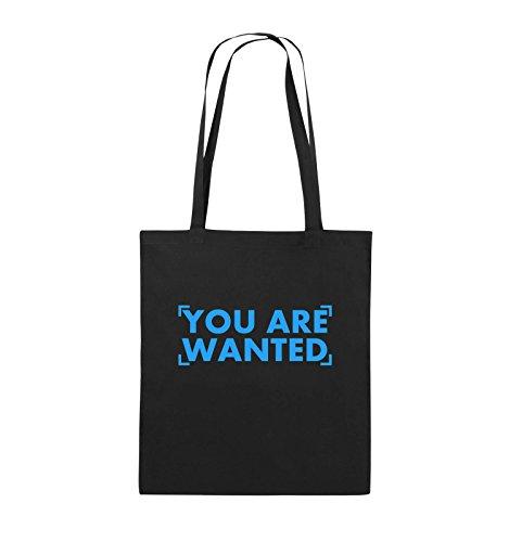 Comedy Bags - YOU ARE WANTED - LOGO - Jutebeutel - lange Henkel - 38x42cm - Farbe: Schwarz / Pink Schwarz / Blau