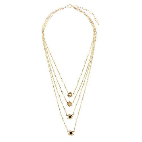 Sweet Deluxe Kette Sun, Gold/schwarz/weiß/lt.Peach I Elegante Halskette für Damen, Frauen & Mädchen I Halsband Modeschmuck I Designer Necklace