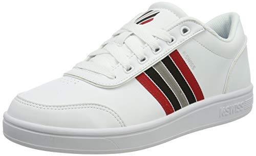 K-Swiss Herren Court Clarkson S Sneaker, Weiß (White/Paloma/Red/Blk 136), 47 EU