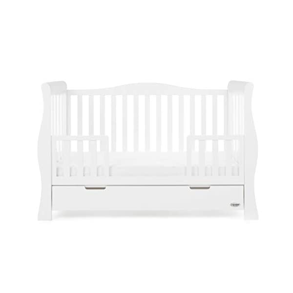 Obaby Stamford Sleigh Luxe Cot Bed - White Obaby Adjustable 3 position mattress height Bed ends split to transforms into toddler bed Includes matching under drawer for storage 9