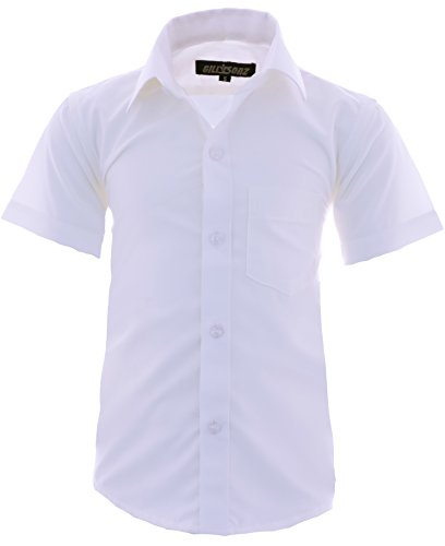 Weiße Baumwolle Junge Kurze (A0 Kinder Party Hemd freizeit Hemd bügelleicht Kurz ARM Gr.86-158 (140-146, Weiß))