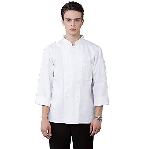 (Lsgepavilion Kochkostüm, langärmelig, Oberteil, Restaurant, Küche, Frühlingskostüm, mit Tasche, einfarbig, Polyester, weiß, Large)