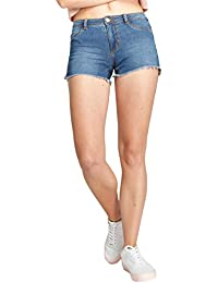 ONLY Womens 4 Pocket Mild Wash Shorts_Blue_X-Small