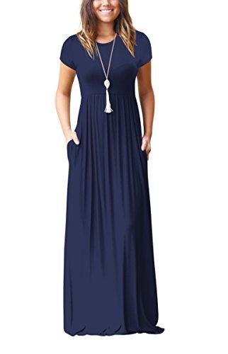 ZIOOER Damen Casual Lose Maxikleider Kurzarm Kleider Lange Kleid mit Taschen Navy Blau M (Lose Abendkleid)