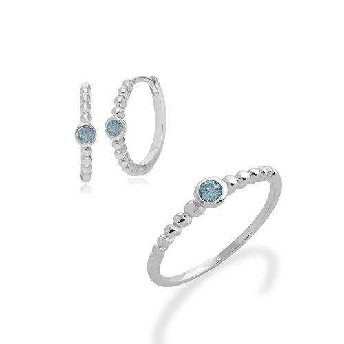 Gemondo Sterlingsilber Aquamarin März Geburtsstein Reifen Ohrringe & Ring Set - - Aquamarin-geburtsstein-set