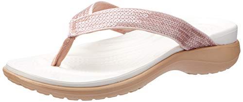 Crocs Capri V Sequin Flip, Damen Zehentrenner, Pink (Rose Gold), 42/43 EU
