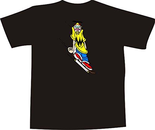 T-Shirt E749 Schönes T-Shirt mit farbigem Brustaufdruck - Logo / Grafik - Comic Design - Skateboarder mit großem Nasenring Schwarz