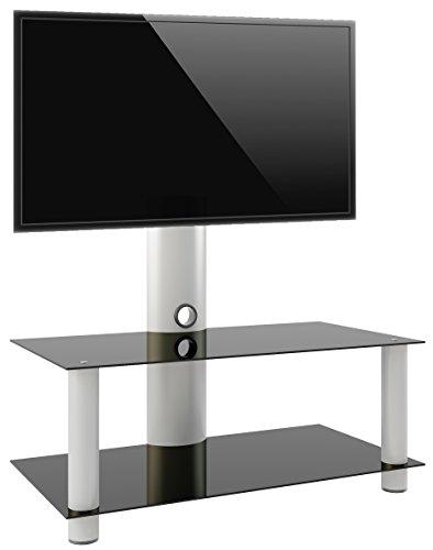 VCM 14195 Valeni Maxi Meuble TV avec Support Aluminium/Verre Argent/Noir 112 cm
