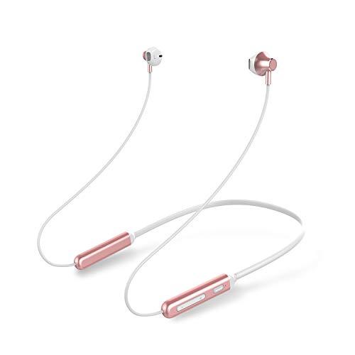 Zagzog auricolare bluetooth sport v5.0 wireless magnetic neck strap leggero noise cancelling suono impermeabile 5d cycling fitness cuffie con microfono per android ios-rosa