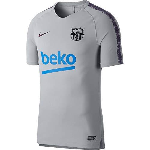 Nike Herren FC Barcelona Breathe Squad T-Shirt, Wolf Grey/Purple Dynasty, M