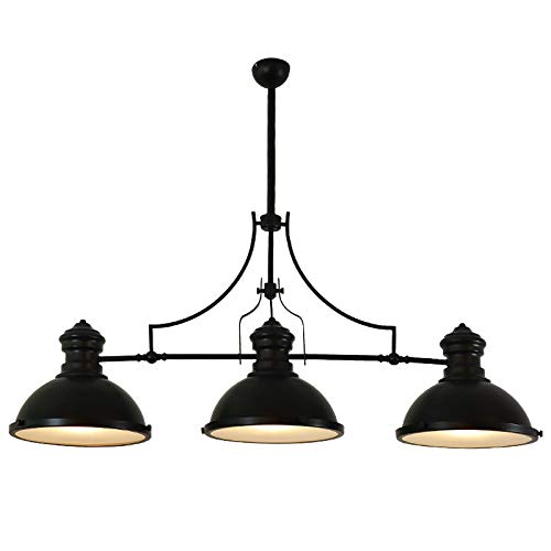 Billard-licht (GX Kronleuchter 3 kopf industrielle kronleuchter eisen retro effekt billard lichter für wohnzimmer bar cafe dekoration pendelleuchte AA+ (Color : Black))