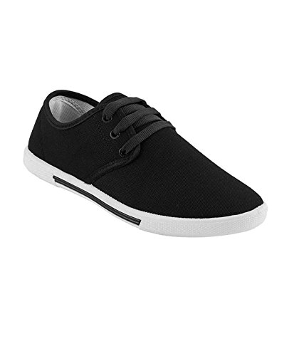 World Wear Footwear Men's Black Canvas Casual Shoes-10  available at amazon for Rs.198