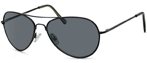 Feinzwirn Sonnenbrille Pamplona Pilotenbrille mit Federscharnieren an den Bügeln und schwarzem...