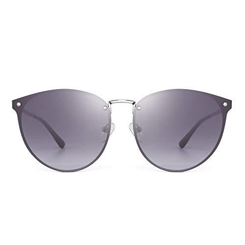 81e9844939 Ojos de Gato Redondo Sin Marco Gafas de Sol Plano Espejo Sombra de Metal  Gradiente Para