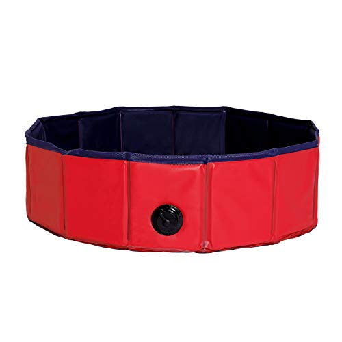 dibea faltbarer Hundepool aus PVC, Schwimmbecken für Hunde, Hundebad, Wasserbecken für Hunde, blau/rot, Größe S (80cm Ø, 20cm Höhe)