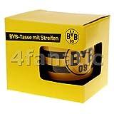 Borussia Dortmund Tasse mit Streifen, Schwarzgelb, Keramik, 0,3l, BVB-Emblem one size