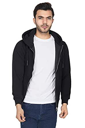 Urban Age Clothing Co. Men's Cotton Blend Fleece Plain Zipper Hoodie for Winters Temperature 0 Degrees to 25 Degrees (Black - Small)