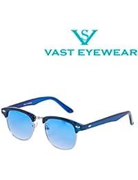 Vast UV Protected Wayfarer Unisex Sunglasses (CM_BLUE_BLUE_SILVER 52 Blue)