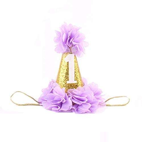 Bobopai Baby Infant First Birthday Hairband Flower Crown Headwear Cone Hat (Purple) Home-cinema-equipment