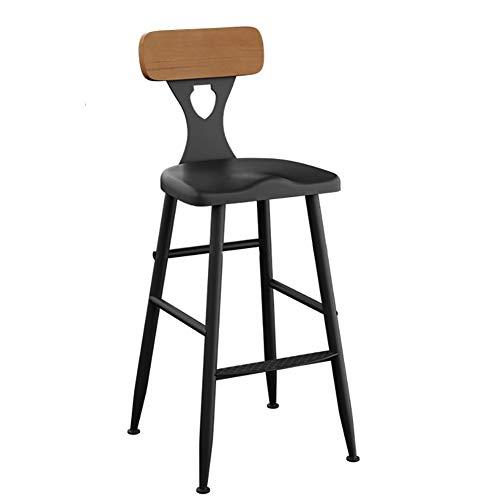 VOVOVO Barstuhl Tresenhocker mit Lehne und Fußstütze Design Stuhl für Bars, Bistros, Terassen Und Cafes | Auch für Eigenheim | Innen- und Außenbereich - Mattschwarz mit Holzsitz - Bar-height Bistro