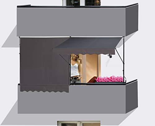 QUICK STAR 2 Stück Klemmmarkise 250x130cm GRAU Balkonmarkise Sonnenschutz Terrassenüberdachung Höhenverstellbar von 200-290cm Markise Balkon ohne Bohren