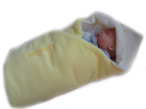 Blueberry Luxurious Very Warm Fleece Swaddle Wrap Blanket Sleeping Bag Birthday Gift Present Yellow by Blueberry Shop