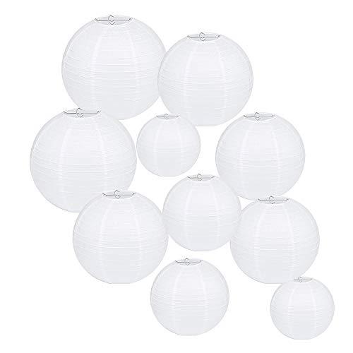 CXvwons Weiße Papier Laterne Lampions, Laterne Lampions Rund Lampenschirm Hochtzeit Geburtstag Party Feier Dekoration Papierlaterne Ballform