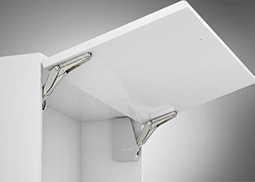 Gedotec Hochschwenkbeschlag Schrank Klappenbeschlag Küche Klappenhalter Free Flap 1.7 | Modell C 2,7-14,7 kg | Möbelbeschläge Komplett Set weiß | 1 Garnitur - Klappenscharnier für einteilige Klappen