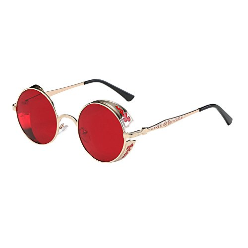 WooCo Hot Sale! Travel Sunglasses for Womens and Mens, Retro Round Metal Frame Summer Vintage Glasses Unisex Vogue Novelty Steampunk Style Red and White(Rot,One size)