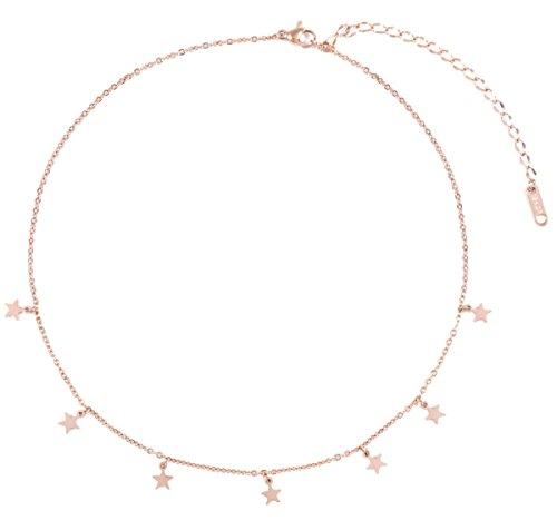 Happiness boutique collana stella oro rosa   delicata collana con piccoli pendenti stella bijoux acciaio inossidabile