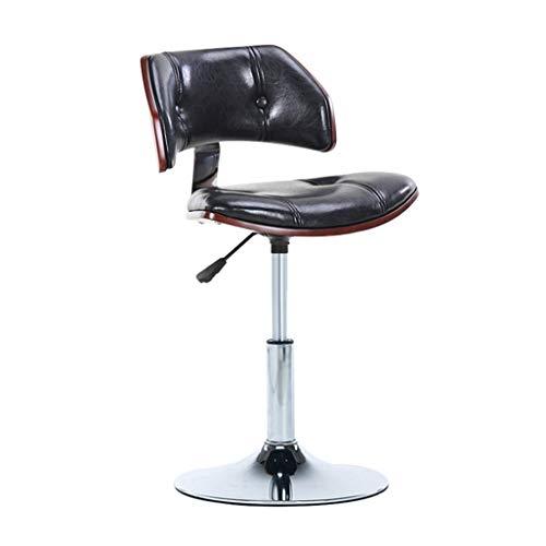 Barhocker Stuhl mit PU-Sitzlehne Verstellbarer drehbarer Gasheber, Höhe 40-55 cm für Küchenbar Barhocker Verchromte Plattenbasis max. Laden Sie 200kg in Schwarz