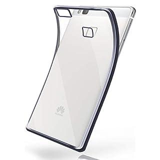 MoEx® Transparente Silikonhülle im Chrome-Style kompatibel mit Huawei P9 Lite | Flexibler Schutz mit Hochglanz Metallic Rahmen, Anthrazit