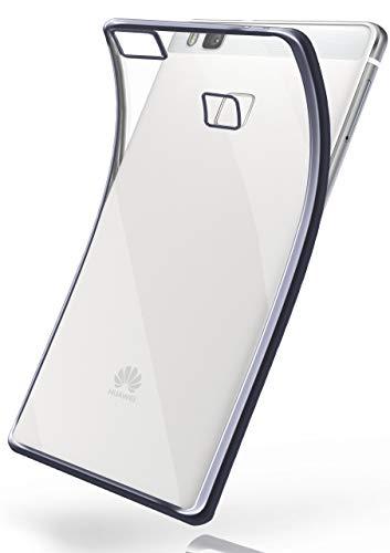 moex Huawei P9 Lite | Hülle Silikon Transparent Anthrazit Chrom Back-Cover Silikonhülle Dünn Schutzhülle Handyhülle für Huawei P9 Lite / G9 / G9 Lite Case Ultra-Slim Tasche TPU