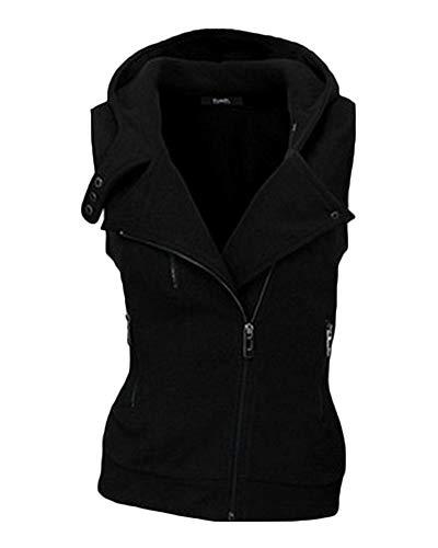 Damen Outdoor Warm Weste Ärmellose Kurz Jacke Mäntel Mit Kapuze Schwarz S