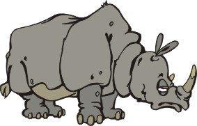 Smarts-Art Lot de 2x Sleepy autocollants Funny Rhino autocollants toute utilisation 100mm x 60mm