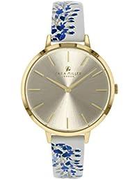 Sara Miller The Wisteria Collection SA2042 - Reloj con Correa de Piel chapada en Oro Blanco