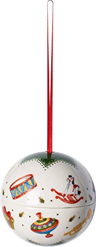 "Villeroy & Boch MyChristmas Tree Weihnachtskugel ""Nostalgiespielzeug"", Porzellan, Grün/Weiß"