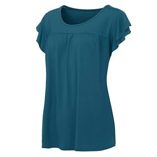 Halfter Krawatte Hals Mini Kleid (RatityX Frauen Casual Kurzarm T-Shirt Einfarbig Verlieren Rundhals Plissee T-Shirt Tops)