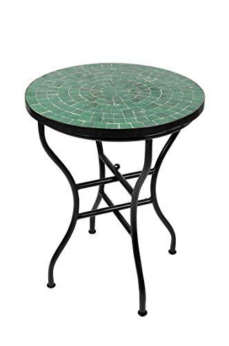 ORIGINAL Marokkanischer Mosaiktisch Bistrotisch ø 60cm Groß rund klappbar | Runder Kleiner Mosaik Gartentisch Mediterran | als Klapptisch für Balkon oder Garten | Buma Grün