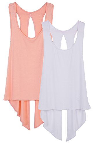 icyzone Damen Tank Tops Casual Kurzarm Rückenfrei Shirts für Yoga Workout (S, Pale Blush/White) - Ärmel Frauen Yoga Kleidung