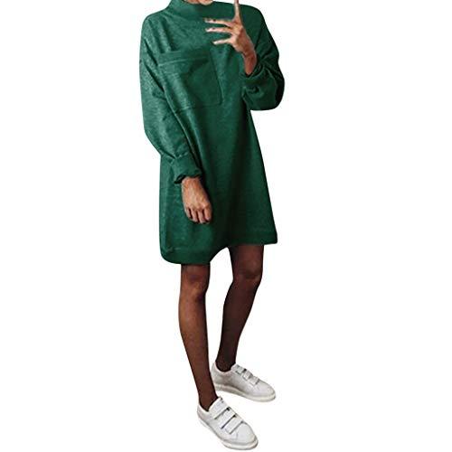 cinnamou Pullover Kleid Slim Fit Sweatshirt Damen Langarm Sweatshirt Pullover Slim Fit Big Pocket Kleid