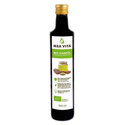 MeaVita Bio Hanföl, 100{53b00c80952f41cd257bde4a2bf282e1f812a31c14e576d6f197e58350a6226f} rein & kaltgepresst, 1er Pack (1x 500ml)