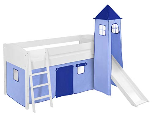 Lilokids Spielbett IDA 4106 Blau - Teilbares Systemhochbett weiß - mit Turm, Rutsche und Vorhang