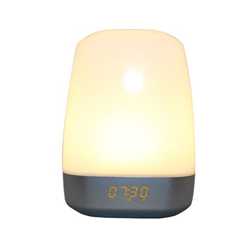 LED Digitaler Wecker mit USB-Ladeanschluss Wake Up Light Wecker für schwere Schläfer Touch Control Multicolor Dimmable 12-24hr Able für Schlafzimmer, Büro & Reise ( Color : White , Size : Free size )