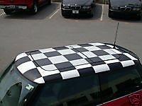 Autocollant De Toit - Autocollant toit damier blanc Bmw Mini R50