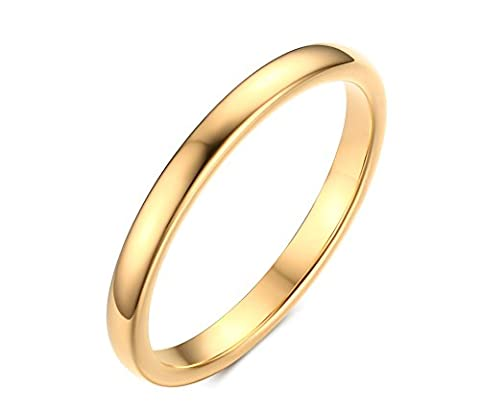 Vnox Women's Men's Thin Simple Tungsten Carbide Plain Band Wedding Engagement Promise Ring 2mm Width Gold