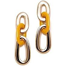 4355925f3b3e Pendientes Pertegaz Colección Carey Largos 56mm. Mujer Tres Eslabones  Dorado Mostaza