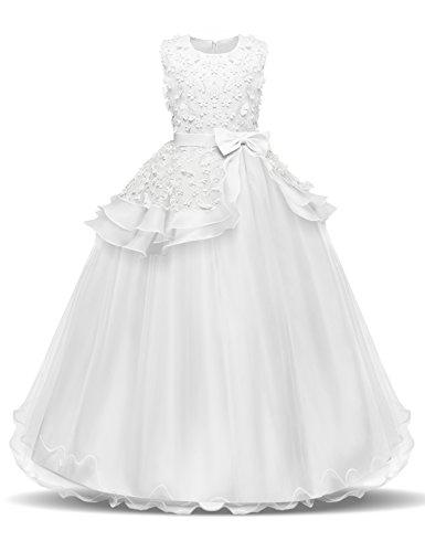NNJXD Madchen Armellos Stickerei Prinzessin Festzug Kleider Abschlussball Ballkleid, Weiß, 7-8 Jahre / Herstellergröße: 130 (7-jährige Für Kleider Mädchen)